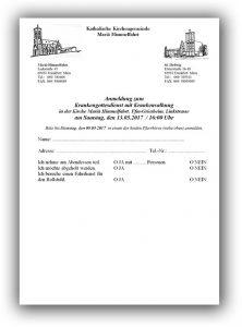 Anmeldeformular für den Krankengottesdienst am 13 Mai 2017 um 16.00 Uhr in Mariä Himmelfahrt