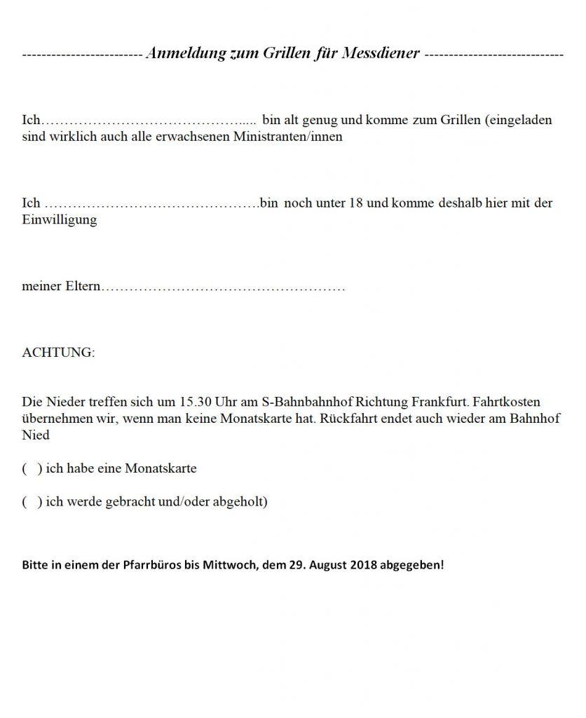 Anmeldung zum Grillen für Messdiener 2018.