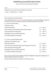 Einwilligung für Fotos und Datenverarbeitung